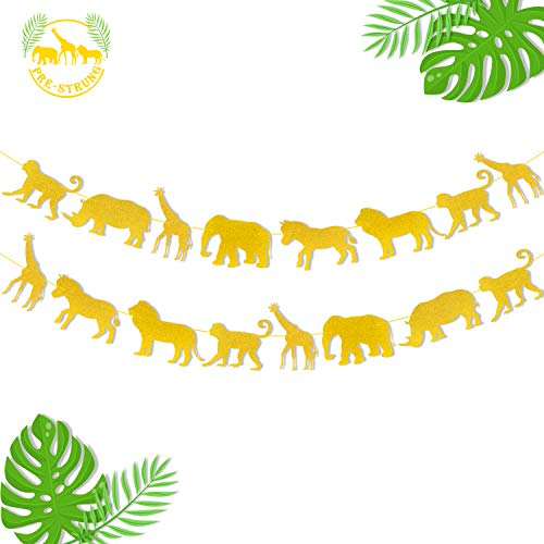 Jungle Safari Animal Banner Gold Glitter Zoo Garland Baby Shower Child Kids Boy Girl Birthday Party Supplies Decorations PRE Strung 2 PCS -