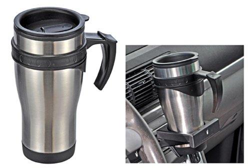 Autobecher, Trinkbecher, Tasse für Camping und Freizeit, aus Edelstahl 450 ml