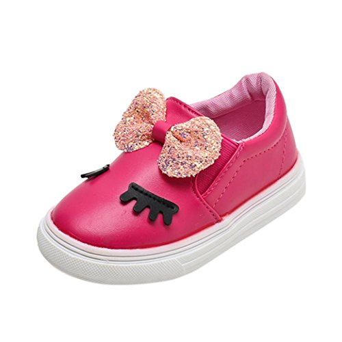 Baby Walking Shoes for 1-6 Years Old,Toddler Girls Kids Soft Sole Anti-Slip Bowknot Shy Eyes Sneaker Casual Shoes (18-24 Months, Hot Pink)