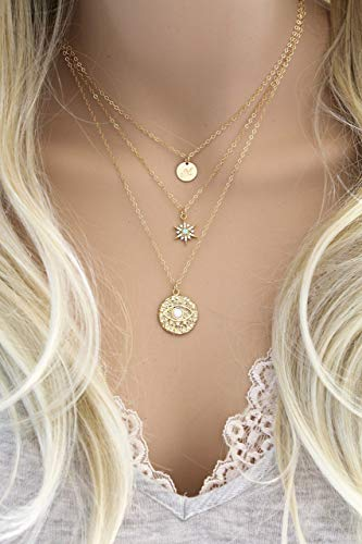 Evil eye Opal necklace, Eye of protection coin pendant medallion, 14K Gold Filled chain, cubic zirconia, cz diamonds, good luck, talisman - Eye Medallion Necklace