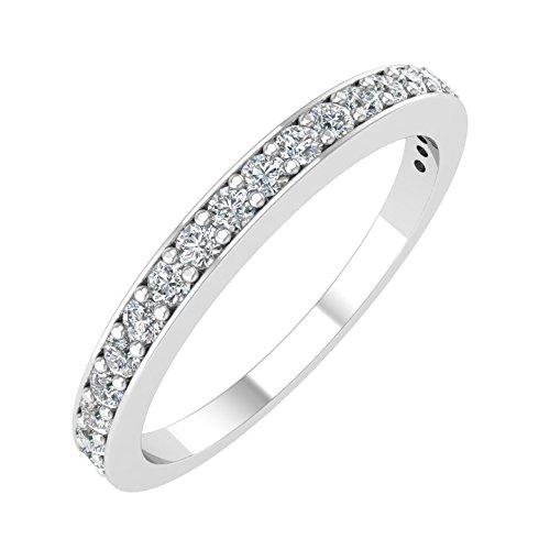 IGI Certified 14k White Gold Wedding Diamond Band Ring (1/4 Carat),ring size 6.5 by Diamond Delight