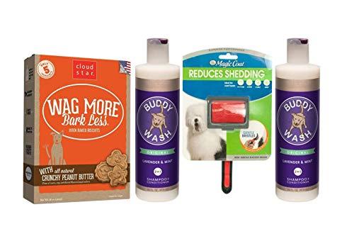 Cloud Star Buddy Wash Dog Shampoo and Conditioner (2) 16 oz Bottles Plus 1 Box of Treats 1 Dog Brush ()