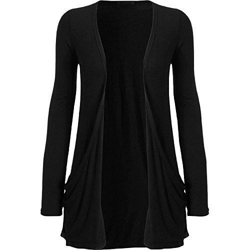 常習的差し引く泥だらけCommencer Ladiesレディース長袖ボーイフレンドOpen Cardigan With Front Pockets カラー: ブラック
