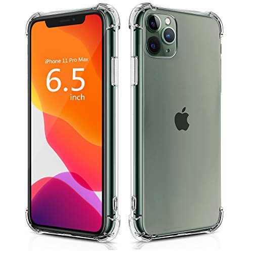 BELONGME Compatible with iPhone 11 Pro Max Case 2019, Crystal Clear Case with 4 Corners Shockproof Protection Soft Scratch-Resistant TPU Cover for iPhone 11 Pro Max 6.5 inch. (Best Shockproof Camera 2019)