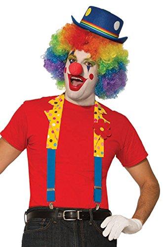 Forum Novelties 80779 Men's Clown Suspenders with Collar, Multi, Standard, -
