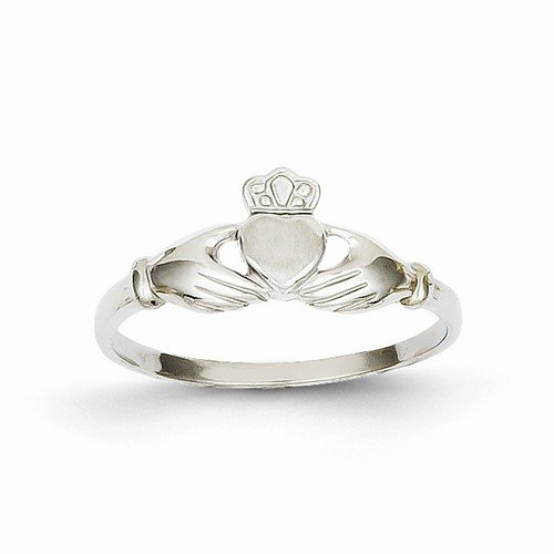 Size - 4.5 - Solid 14k White Gold Polished & Satin Claddagh Ring (4 to 16 mm)