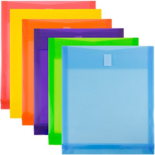 JAM Paper Plastic Expansion Envelopes with Hook & Loop Closure - Letter Open End - 9 3/4 x 11 3/4 with 1 inch Expansion - Assorted Colors - 6/Pack by JAM Paper (Image #1)