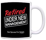 Retirement Gift Under New Management Funny Retired Gag Gift Coffee Mug Tea Cup Black
