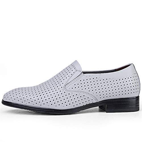 Cuero 48 y EU Jusheng Cuero Negocios británico Tamaño código ahuecados tamaño de Oxford del Hombre Blanco de Color Casual Zapatos Hueco de 4qxR46Sg