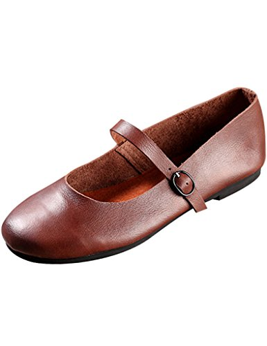 Coffee Shoes Janes Leather Women's Summer Spring Mary Youlee Vintage gO8Hq4ww