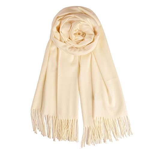 (QBSM Womens Beige Cream Soft Winter Scarf Pashmina Blanket Bridal Wedding Evening Dresses Shawls and Wraps)