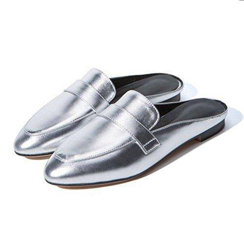 Mules Femmes Bout Silver RAZAMAZA Pointu Plates 4 pFnwtwHqA