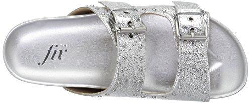 Silver Women's Metallic Studded Slide The Upson Platform Fix Footbed Buckle Sandal Double Axxv4a5