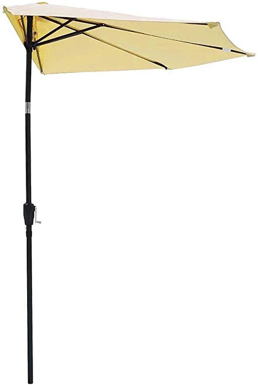 JINKAKA 2.7m Garden Parasol Sun Shade Solar LED lights Umbrella with Crank and Tilt Mechanism for Outdoor Balcony Garden Patio Beige