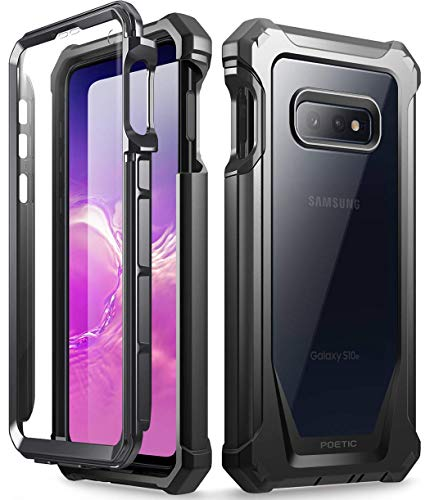 Galaxy S10e Rugged Clear Case, Poetic Full-Body Hybrid Bumper Cover, Support Wireless Charging, Includes Built-in-Screen Protector, Guardian Series, Case for Samsung Galaxy S10e 2019, Black ()