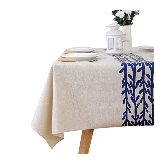 LEEVAN Heavy Weight Vinyl Rectangle Table Cover Wipe Clean PVC Tablecloth Oil-Proof/Waterproof Stain-Resistant-54 x 108 Inch(Rattan) - Material: 100% PVC, grade A vinyl heavy weight tablecloth, Variety stylish pattern of same PVC tablecloth available in LeeVan Store Spills, oil and liquids bead up and won't leak through the tablecloth so your tablecloth looks fresher longer Smooth surface and durable for any table setting whether casual or formal - tablecloths, kitchen-dining-room-table-linens, kitchen-dining-room - 41NzebNKc0L. SS570  -