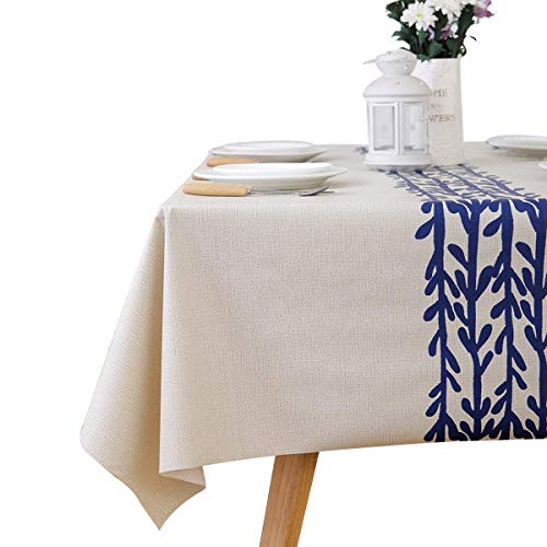 LEEVAN Heavy Weight Vinyl Rectangle Table Cover Wipe Clean PVC Tablecloth Oil-Proof/Waterproof Stain-Resistant-54 x 72 Inch(Rattan)