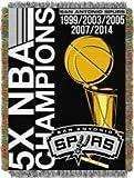 "San Antonio Spurs NBA 5X Champs ""Victory"" 48x60 Tapestry Jacquard Throw Blanket"