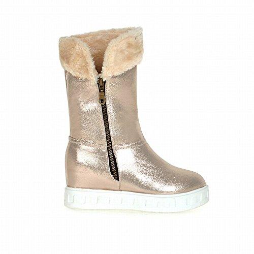 calf Wedge Zipper Snow with Latasa Mid Gold Boots Fashion heel Platform Womens Boots Mid x4ZaRYw
