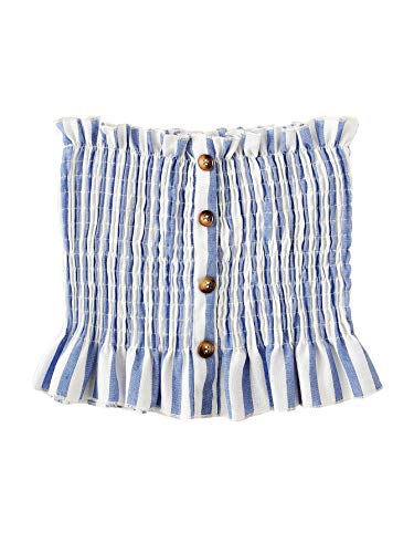 - SheIn Women's Sexy Button Front Frill Strapless Pleated Bandeau Tube Summer Bra Crop Top X-Large Stripe Blue