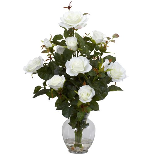 Nearly Natural 1281-WH Rose Bush with Vase Silk Flower Arrangement, White by Nearly Natural