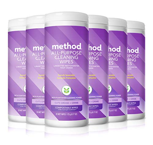 Method All-Purpose Cleaning Wipes, French Lavender, 6.1 Ounces, 30 Count (Pack of 6)