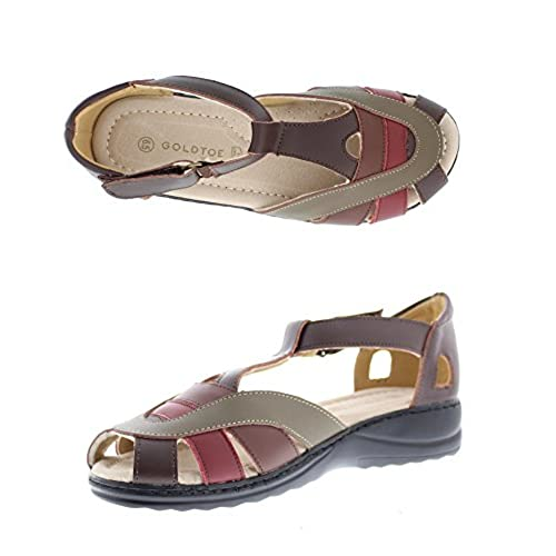 08ff0c7d577 well-wreapped Gold Toe Women s Sedona Strappy Gladiator T-Strap Low Heel  Wedge Sandal