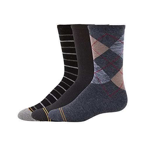 Gold Toe Boys' Big Argyle Fashion Dress Crew, 3-Pair, heather dark grey/black, Large