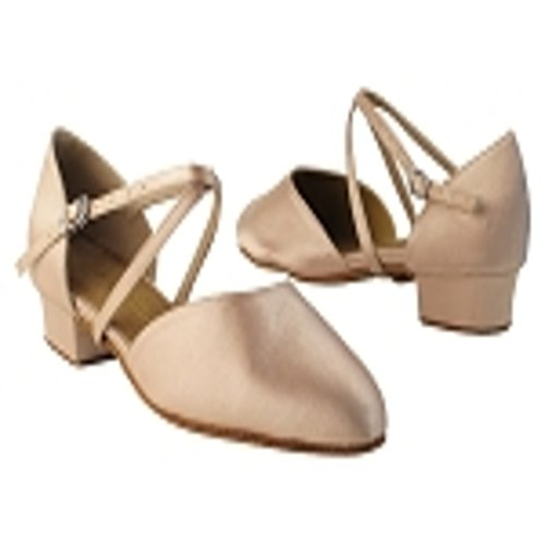 Very Fine Girls Tan Satin Closed Toe Dance Shoe 9691 in size 3 with 1 inch heel by Very Fine Dance Shoes