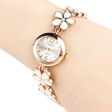 Yodee! Women's Quartz Analog Flower Style Alloy Band Bracelet Watch (Assorted Colors) 39% Off Style Alloy Analog