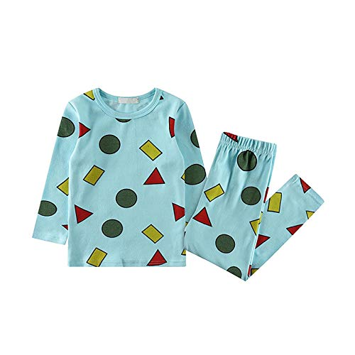 MiMiey Jungen Mädchen Schlafanzug Kinder Lange Pyjamas Sets Weihnachten Zweiteiliger Nachtwäsche Pjs Xmas Home (Sky Blue, S)
