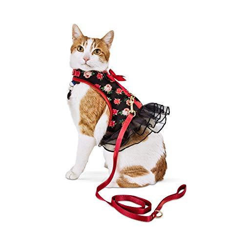 (Bond & Co. Pink Rose-Print Cat Harness and Leash Set, Standard)