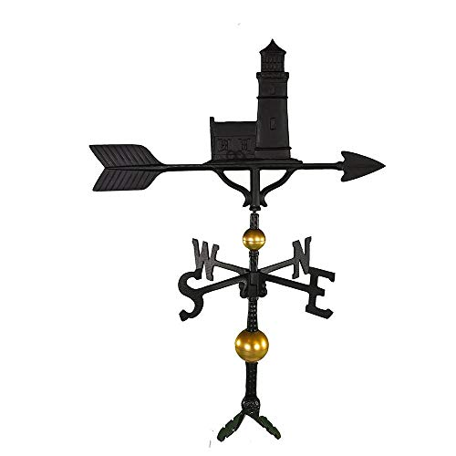 Montague Metal Products 32-Inch Deluxe Weathervane with Satin Black Cottage Lighthouse Ornament (Renewed) ()