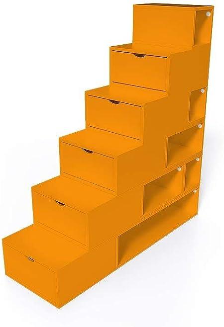 ABC MEUBLES - Escalera Cubo para Guardar Cosas 150 cm - ESC150 - Naranja: Amazon.es: Hogar