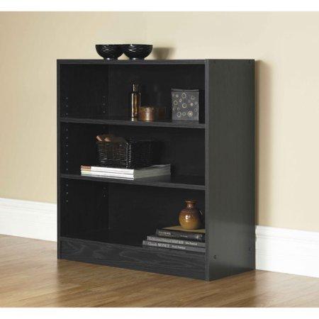 Mainstays Wide 3-Shelf Bookcase, Black ()