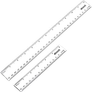 eBoot Plastic Ruler Straight Ruler Plastic Measuring Tool 12 Inches and 6 Inches, Clear, 2 Pieces