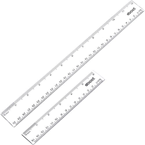 eBoot Plastic Ruler Straight Ruler Plastic Measuring Tool 12 Inches and 6 Inches, Clear, 2 Pieces (Clear Plastic Ruler)