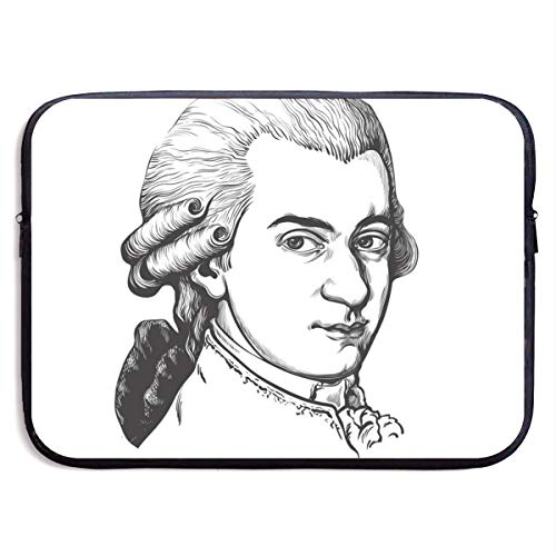 Wolfgang Amadeus Mozart Portrait 13/15 Inch Laptop Sleeve Bag for MacBook Air 11 13 15 Pro 13.3 15.4 Portable Zipper Laptop Bag Tablet Bag,Water Resistant,Black