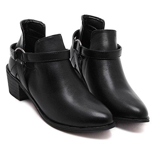 LvYuan-mxx Frauen kurze Stiefel / Herbst Winter / chunky Ferse / Spitz Zehe / Martin Stiefel / Ferse Comfort Casual / Office & Karriere Kleid / Niedrig High Heels BLACK-37 7d1096