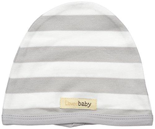 L'ovedbaby Baby Organic Cotton Hat, Light Gray/White Stripe, 0-3 (1 Organic Baby Apparel)