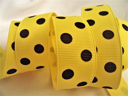 - Grosgrain Ribbon - Yellow with Black Polka Dots - 7/8 Inch Wide - 10 Yards - Hair Bows and Fall Crafts!