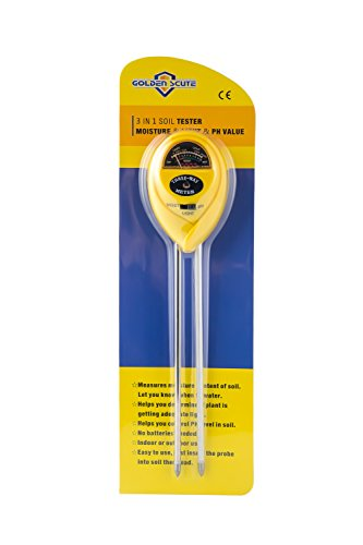 Golden Scute 3 in 1 Soil Tester for PH Meter, Moisture, Sunlight and Acidity, Garden Tools for Farm, Plants and Herbs, Indoor & Outdoor Plant Care (No Battery Needed) by Golden Scute