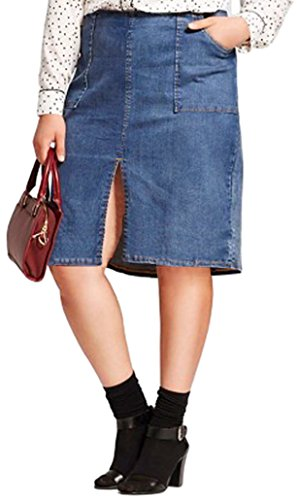 Back Slit Denim Skirt - Who What Wear Women's Denim Pencil Skirt with Front and Back Slit (14, Midwash Blue)
