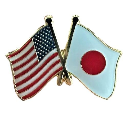 Backwoods Barnaby USA-Japanese Friendship Pin/American Japan Cross Flags Broach