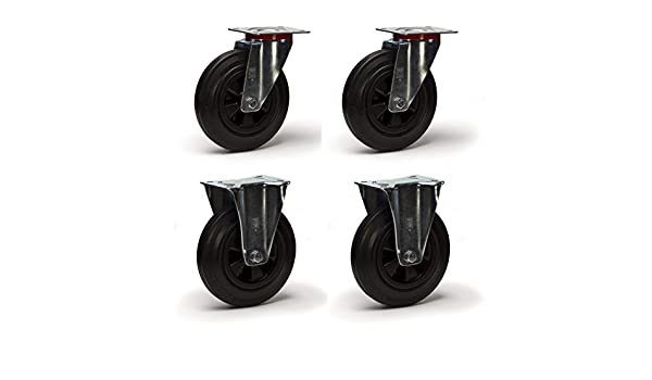 4 Roulettes pivotantes fixe 100 mm caoutchouc LOT992 d/éplacement faci Roulette pivotante monture en t/ôle acier zingu/ée Roue diam/ètre 100 /à bandage caoutchouc noir /élastique /à roulement /à rouleaux