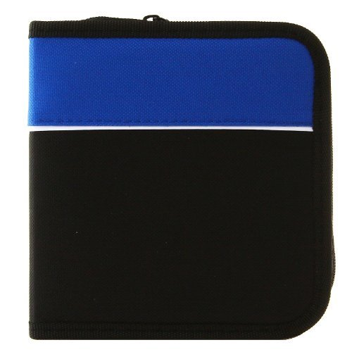 PrimeTrendz TM CD Wallet, 48 Capacity CD Holder Case in Black / Blue, Nylon ()