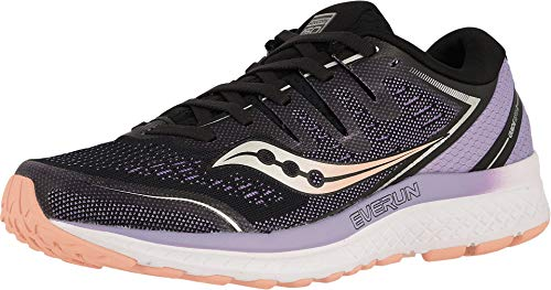 Saucony Women's Guide ISO 2 Running Shoe, Black/Purple, 8.5 M US