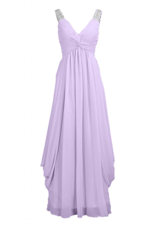 Sunvary Stylish Full-Length V-neck Chiffon Evening Party Dress Bridesmaid Dress