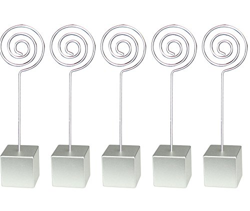 Silver Cube Circle Loop Wire Memo Photo Note Card Desk Picture Clip Holders,personalized Standing Wedding Place Deco