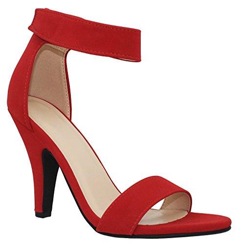 MVE Shoes Open Toe Low Heel Ankle Strap Sandal, Lip NBPU Size 8 (Low Red Heel)